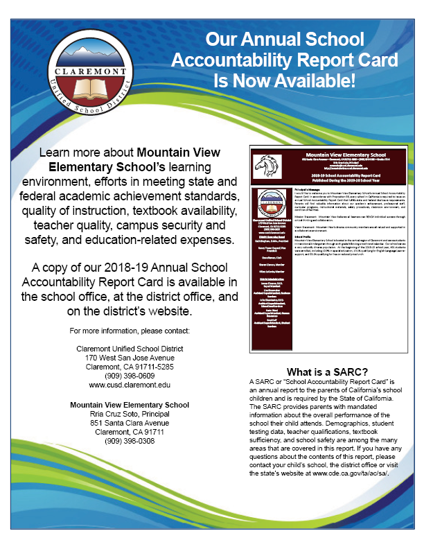 Mountain View 2018-19 SARC flyer